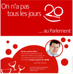 invitation 20 ans au parlement